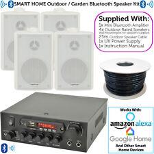Outdoor Bluetooth Speaker Kit – 4x White – Karaoke/Stereo Amp Garden BBQ Parties