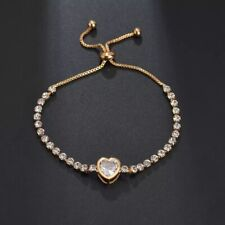 GOLD FILLED HEART  TENNIS Made With SWAROVSKI CRYSTALS ADJUSTABLE GIFT RG46
