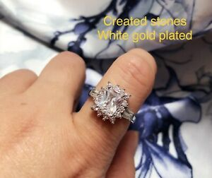 2ct emerald cut DIAM0ND cluster ring size i