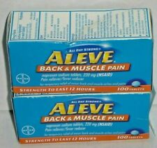 (2) Aleve Back & Muscle Pain Naproxen Sodium 220mg 100 Tabs (200 Tablets) 8/21+
