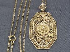 schöner alter Filigran-Anhänger Silber vergoldet mit Kette