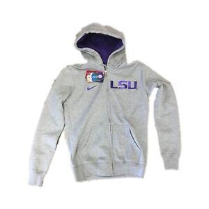 NWT NEW LSU Tigers Nike Full Zip Women's Grey Hoodie Sweatshirt Size Large