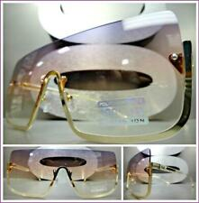 Oversized LUXURY RETRO Shield Style SUNGLASSES Gold Frame Purple Pink Clear Lens