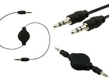 3x 3.5mm Retractable Audio Male to Male Black Cable