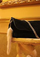 "~ Designers Mink Real Fur Tail Tassel Luxury HandBag Charm Key Chain 9"" $179 NWT"