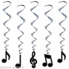 5 Music Musical Notes Black & White Children's Party Hanging Whirls Decorations