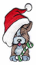 CHRISTMAS PUPPY w/SANTA CAP /Iron On Patch -Dogs Holidays