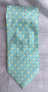 "Hermes Paris Silk Vintage 70's Neck  Tie Light Teal Yellow 60"""