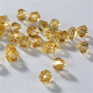 Diy 4Mm 100Pcs Amber Crystal Glass Loose Spacer Beads Making Bracelet Jewelry