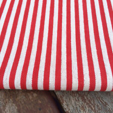 Rojo Rayas De Lino-Algodón Tela. precio por 1/2 metros