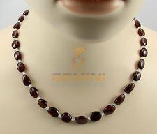 Rote Granat-Kette mit Mondstein Halskette für Damen 46,5 cm Gemini Gemstones