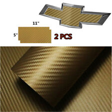 2 PCS Gold CARBON FIBER Chevy Bowtie Emblem Overlay Sheets Vinyl Decal Wrap