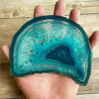"""Extra Large Teal Agate Slice: Approx 5.3"""" Long, Crystal Stone Geode Mineral"""
