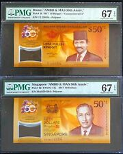 2017 Brunei p-38/ Singapore p-62 $50 Commemorative SET 2 Banknotes PMG 67 EPQ