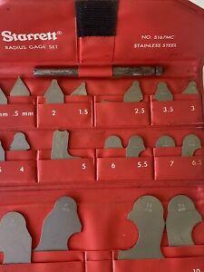Starrett No. S167MC Radius Gage Set Stainless Steel Complete