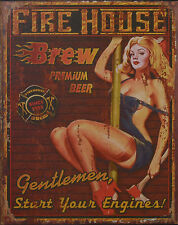 """Blechschild """"Fire House"""" Feuerwehr Feuerwache PinUp Bier Bar Diner 25x20cm Neu"""