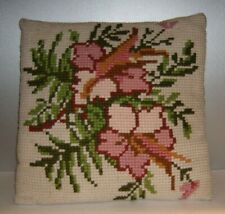 "Vintage Needlepoint Cross Stitched Floral Pillow with Corduroy Back 15""x15"""