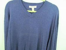 Pronto Uomo Cotton Cashmere Sweater XXL 50 Chest V-neck Dusty Blue Fast Free