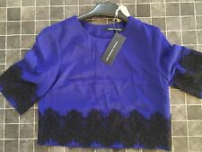 Ladies French Connection Lines Lace SS Capping Top. Size 6