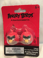 2 Pack Red Angry Birds Collectible Puzzle Erasers Assemble Like Puzzle New In Pk