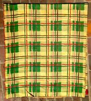 Vintage Barkcloth 4 Perfect LRG Panels COLORFUL PLAID Design VERY VIVID