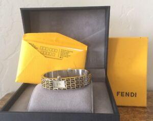 NEW! $850 FENDI Orologi 3300L Stainless Steel Bracelet WATCH Monogram Women's