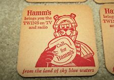 HAMM'S beer 1960's MINNESOTA TWINS BASEBALL COASTERS 4 PCS Hamm's bear!