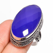 Faceted Blue Onyx Gemstone Hand Craft Ethnic Silver Fashion Jewelry Ring 7.25 US