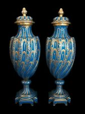 KALK - Antique Pair of Gilt Decorated Porcelain Urns & Covers - Germany - C.1920