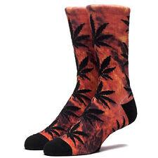 "HUF ""Hades Plantlife"" Crew Socks (Red) Men's Fire Flames Weed Pot Leaf Sock"