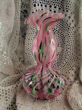 ancien vase en verre moucheté de clichy  pate rose