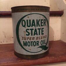 Vintage Quaker State 3.324 Quart Motor Oil Metal Can Empty