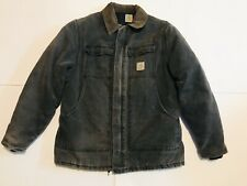 Vintage CARHARTT Distressed Quilted Lined Duck Work Coat Jacket Size XL Reg