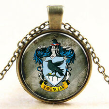 Ravenclaw Wappen Glas Cabochon Poliert Anhänger + Kette 45cm Harry Potter 1Stk