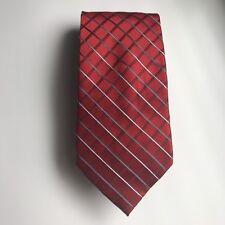 Jones New York 100% Silk Tie Red Square Diamond Mesh Design