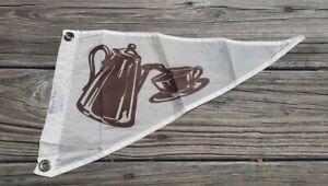 Vtg Coffee Tea Pennant Flag - Taylor Made Nylon Dbl Sided - Boat Yacht Maritime