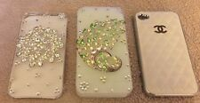 iPhone 4s cover 3 pieces - 2 crystal with clear cover and 1 white faux leather