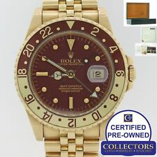 VTG Rolex GMT Master 16758 18k Gold Jubilee Root Beer Nipple Watch Box Papers E8