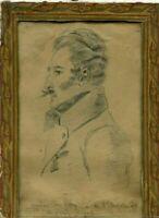 Dessin au crayon vintage du XIXe siècle - André de Viry, Garde royale, Fanelli