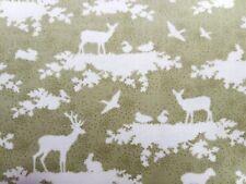 Tilda Woodland scene,green,stag,rabbit, 100%cotton fabric,fat quarter,freep&p,