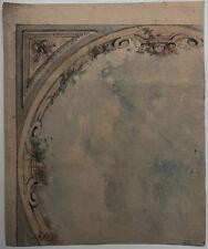 Belle Aquarelle Ancienne Projet de Plafond c.1870 XIXe #1