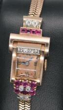 Art Deco 14K Rose Gold .80ct Diamond & Ruby GRUEN PRECISION 17J Mechanical Watch