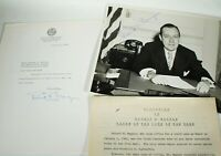 NEW YORK CITY MAYOR Robert F Wagner SIGNED LETTER AND PHOTO, TWO SIGNATURES!