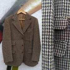 Vintage 1960s Dunn And Co Harris Tweed Ticket Pocket Leather buttons Jacket M