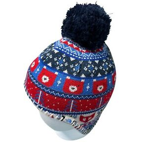 The North Face Baby Lined Winter Hat Pom Pom Knit Bear Printed Fitted