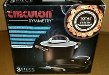 NEW Circulon Symmetry 3 piece Hard-Anodized chocolate Nonstick Cookware Set