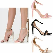Womens Ladies Barley There Strappy High Stiletto Heel Satin Sandals Shoes Size