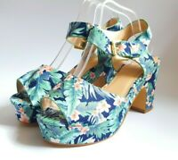 Simply Be Blue/Green Floral Block Heel Platform Peep Toe Sz UK 8 & 9 Extra Wide