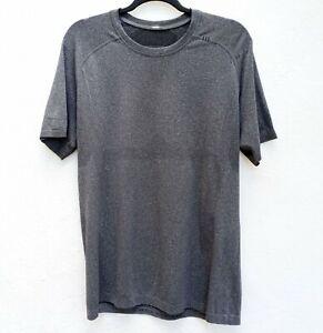 LULULEMON Men's Metal Vent Tech Short Sleeve Shirt Crew Neck Heathered Black M