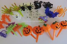 24 MIXED HALLOWEEN CUPCAKE DECORATIONS  FAVOUR RINGS AND PICKS (PACK 2)
